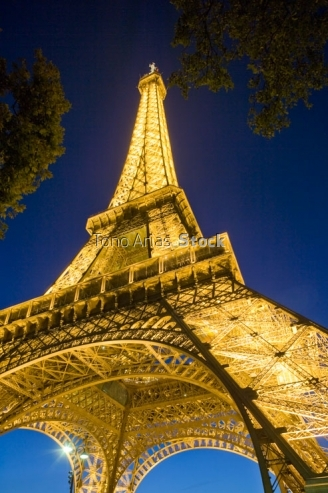 France, Paris Eiffel Tower illuminated at night